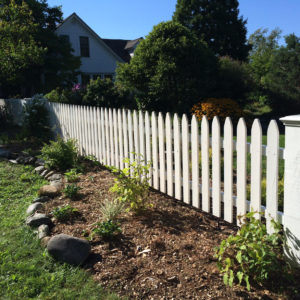 White Painted Gothic Picket Fence