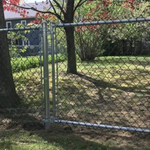 Residential Chain Link, Galvanized Frame, Green Fabric
